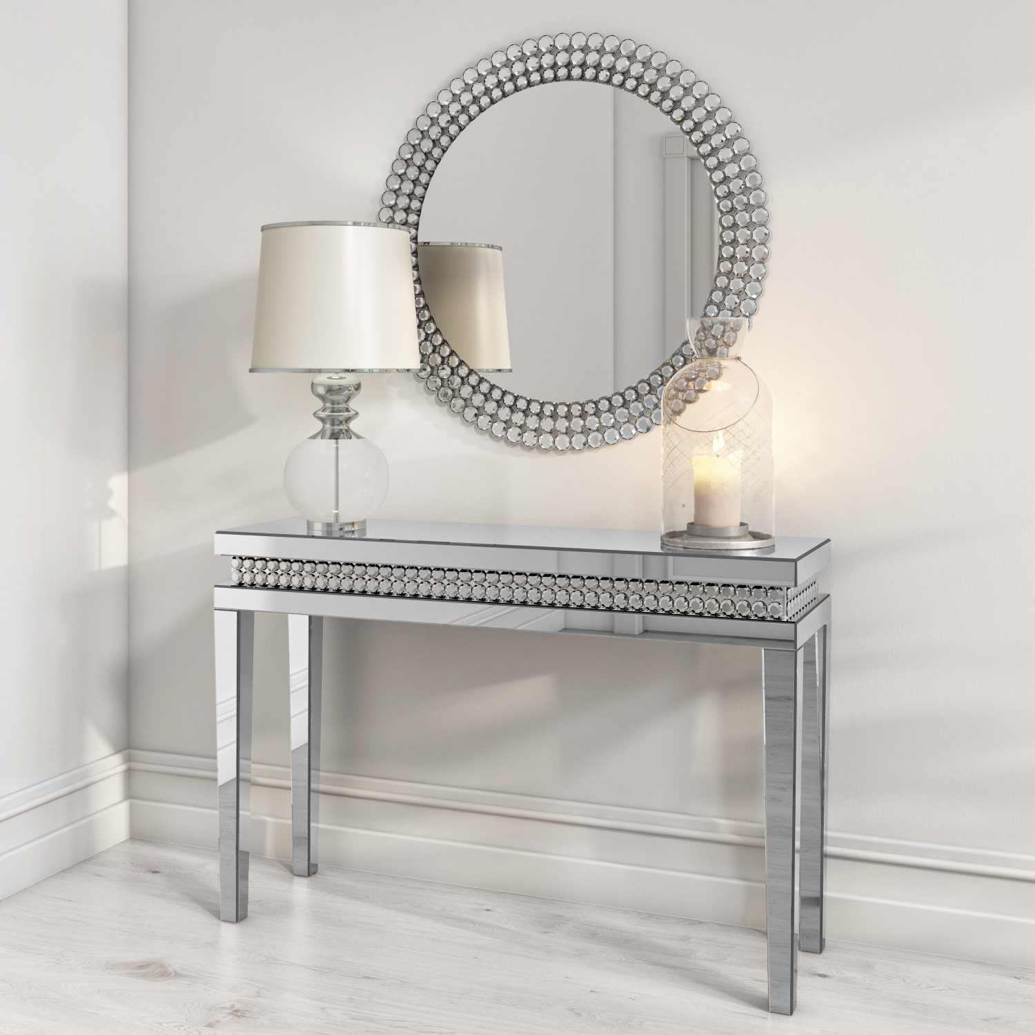 Narrow Mirrored Console Table With Diamond Gems Jade Boutique Furniture123