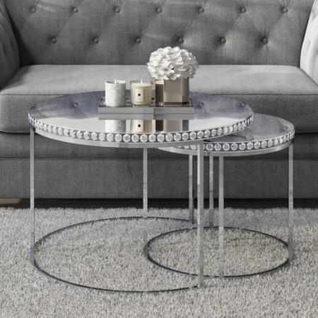 Round Mirrored Coffee Tables With Diamond Gems Set Of 2 Jade Boutique Furniture123