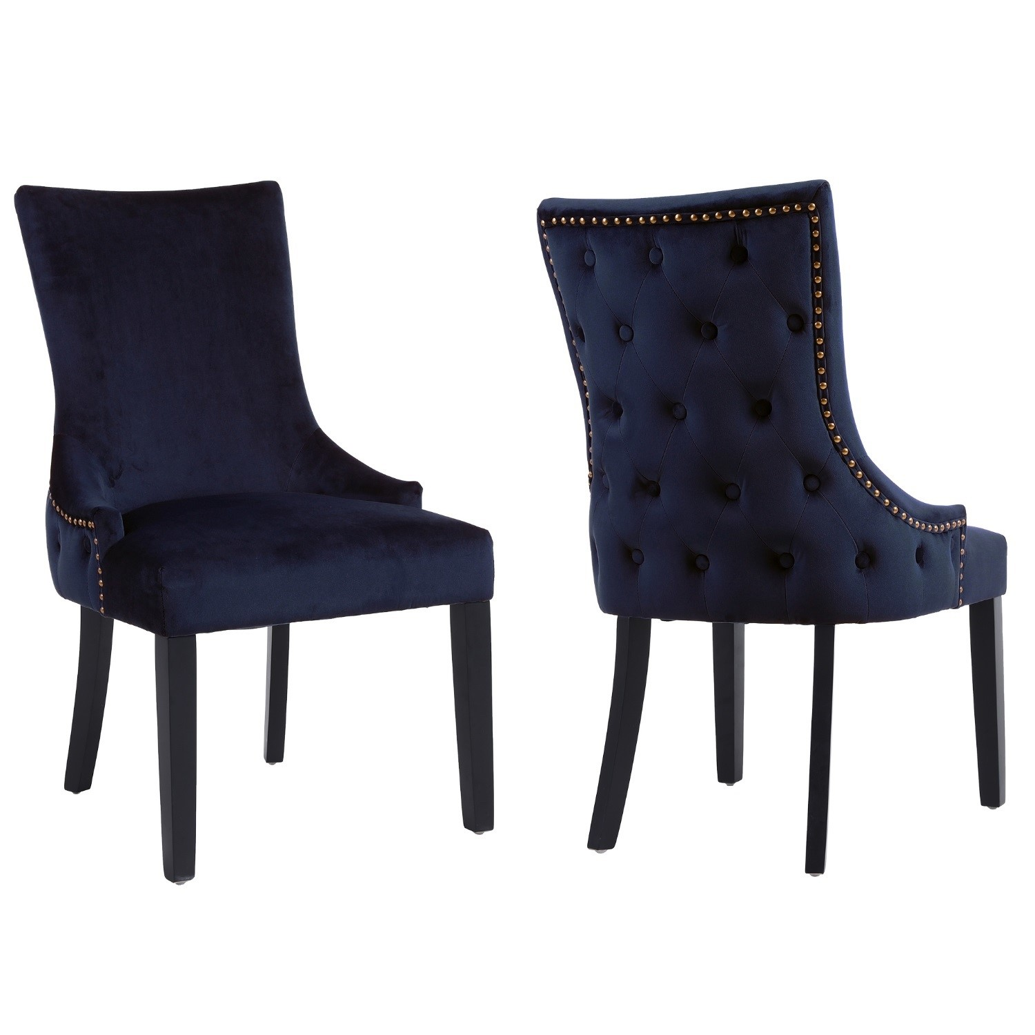 Pair of Navy Blue Velvet Dining Chairs with Buttoned Back  Jade Boutique