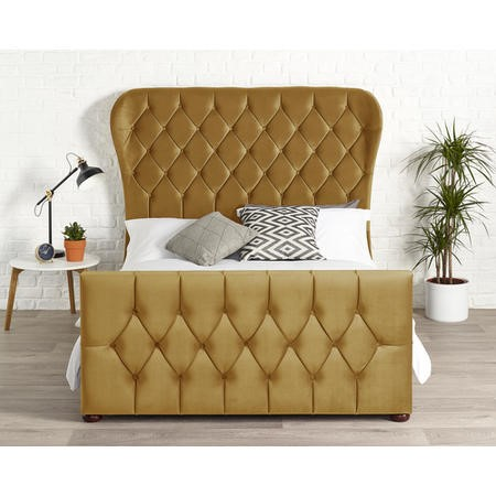 Janssen Wing Bed in Ochre Plush Velvet
