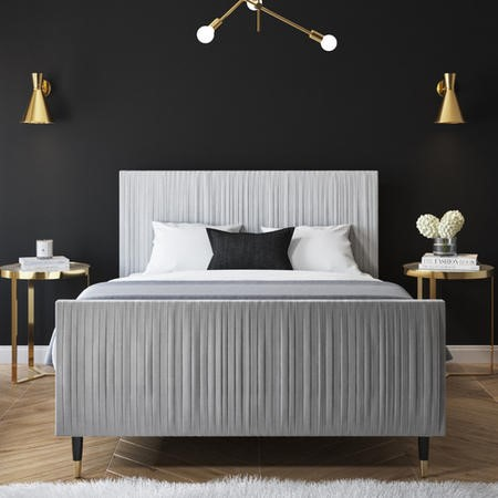 Jasmine King Size Bed Frame in Silver Grey Pleated Velvet