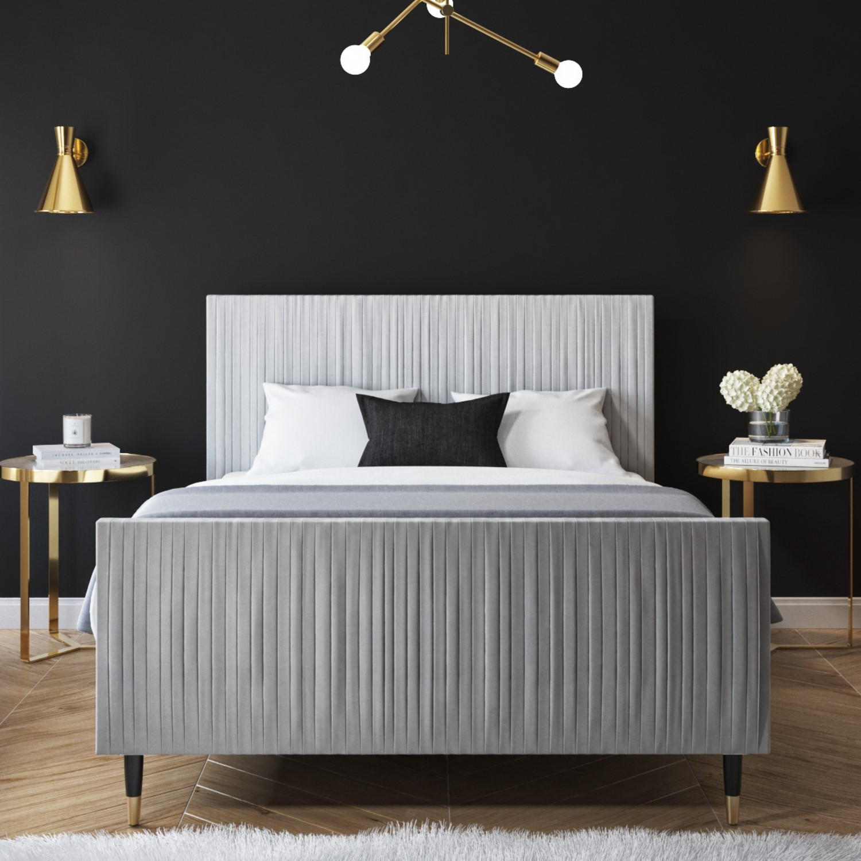 Jasmine King Size Bed Frame In Silver Grey Pleated Velvet Furniture123