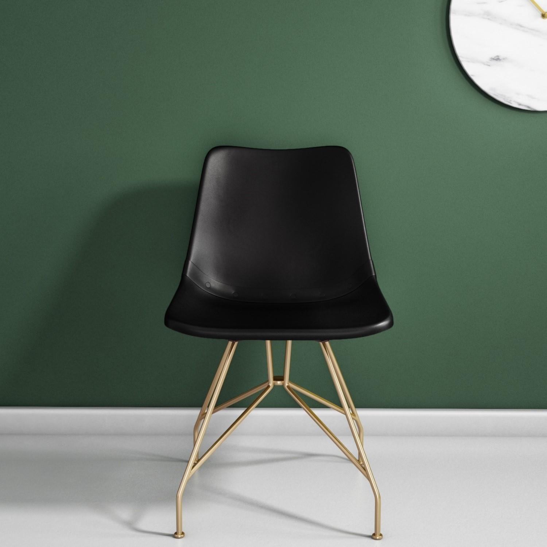 Swivel Office Chair in Black Leather & Gold  Jaxon