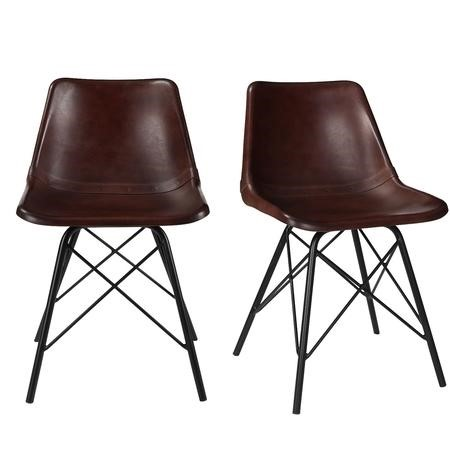 Leather Dining Chairs in Dark Red - Jaxon - Set of 2