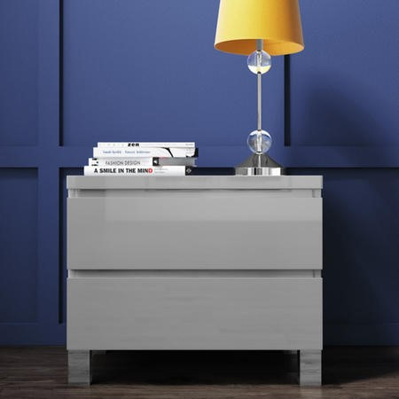 Jenson Grey High Gloss 2 Drawer Bedside Drawers