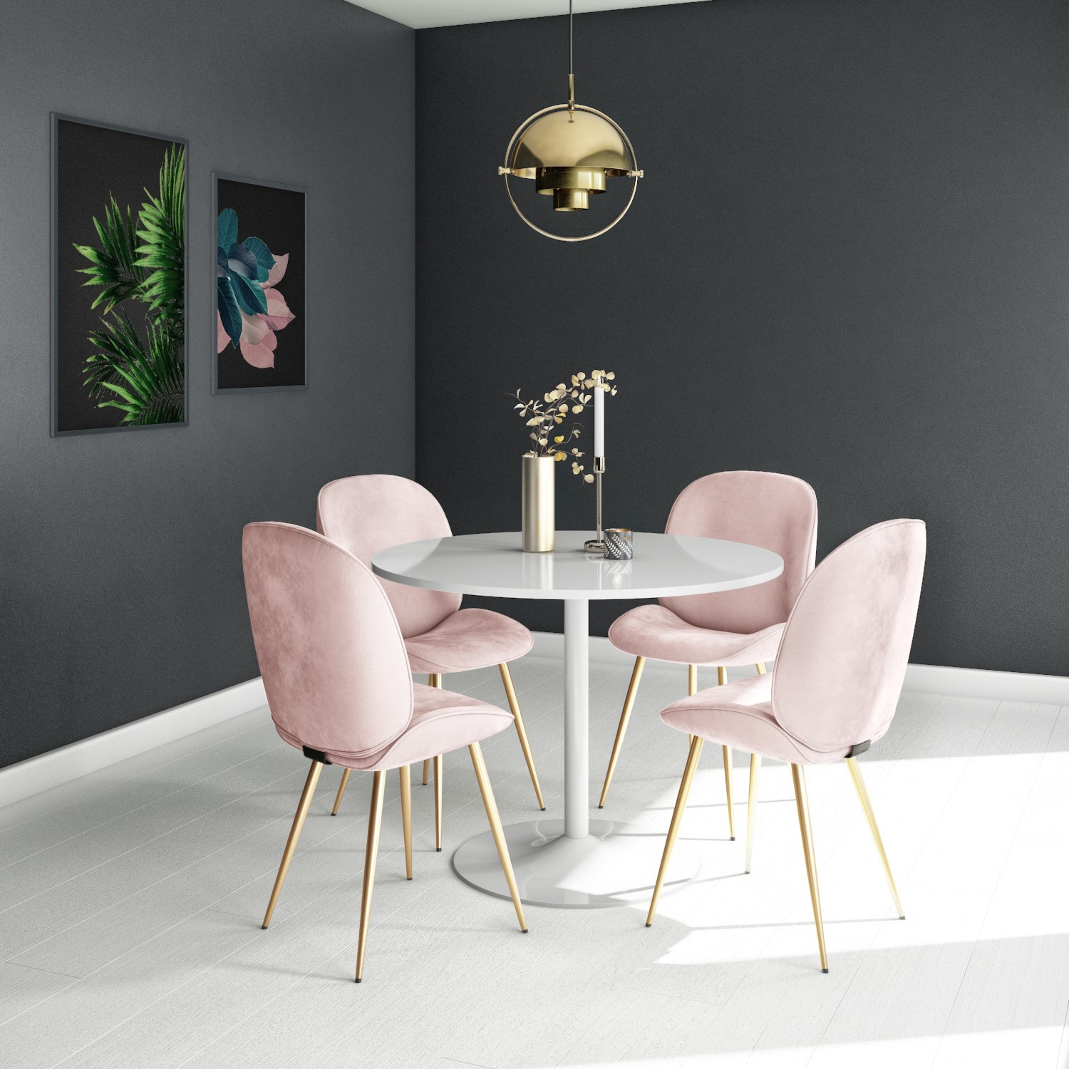 Picture of: Set Of 2 Pink Velvet Dining Chairs With Gold Legs Jenna Furniture123
