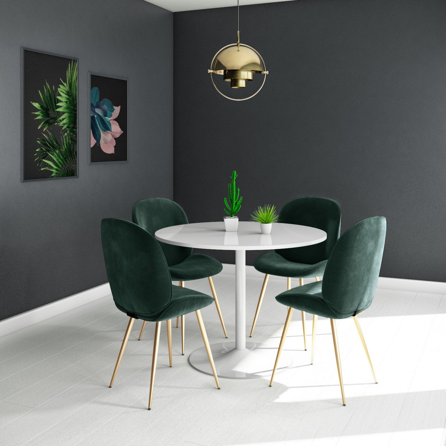 Picture of: Set Of 2 Dark Green Velvet Dining Chairs With Gold Legs Jenna Furniture123