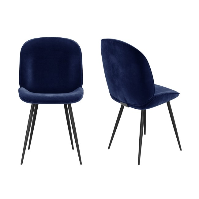 GRADE A2 - Set of 2 Navy Blue Velvet Dining Chairs with Black Legs - Jenna