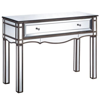 Venice Art Deco 1 Drawer Mirrored Console Table
