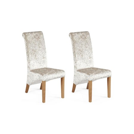 Jasmine Silver Crushed Velvet Pair Of Chairs Furniture123