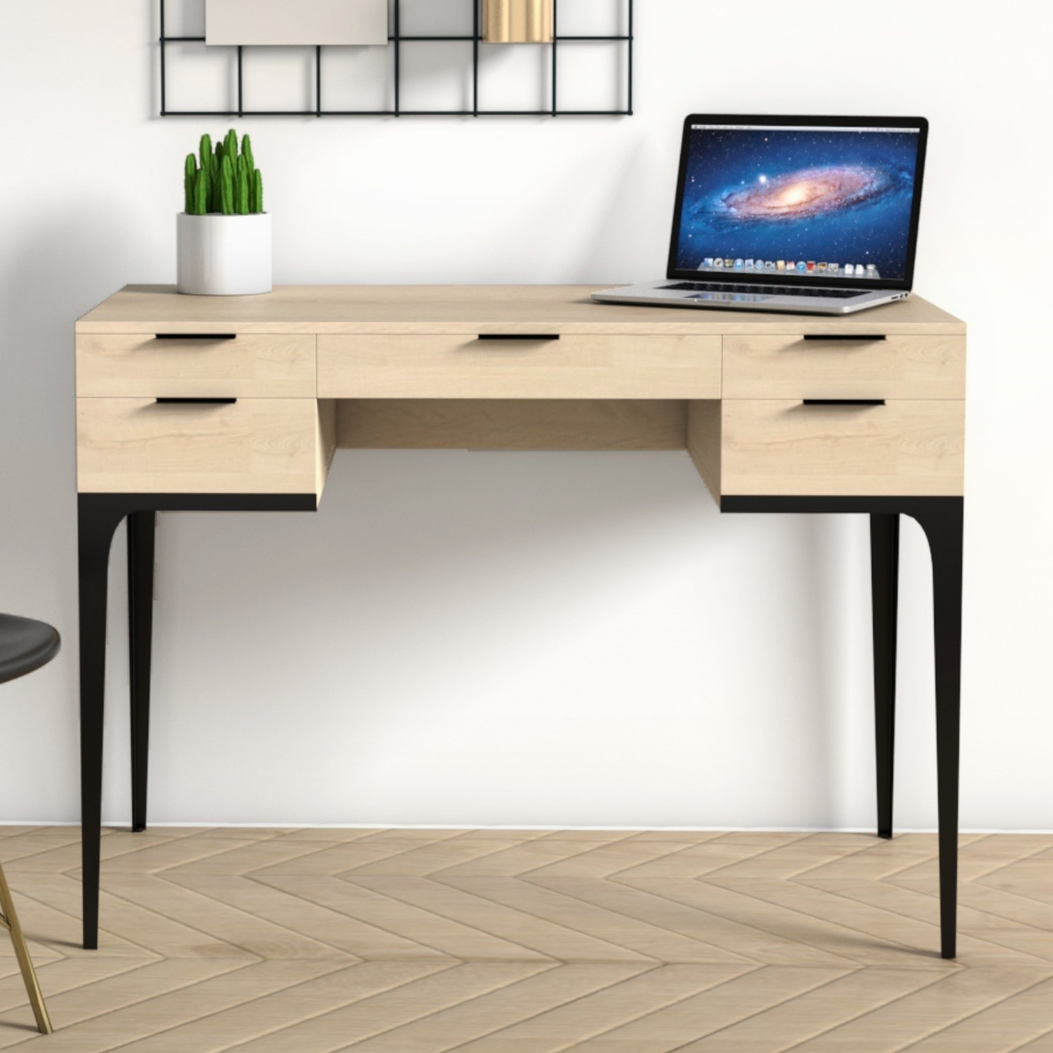 Modern Mango Wood Desk with 5 Drawers and Industrial Legs  Kai