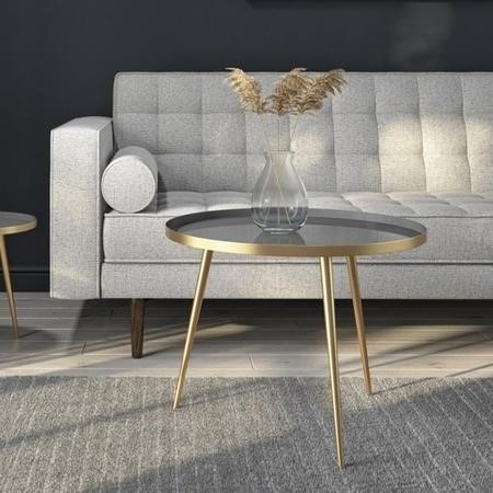 Coffee Table in Gold & Grey - Round - Kaisa