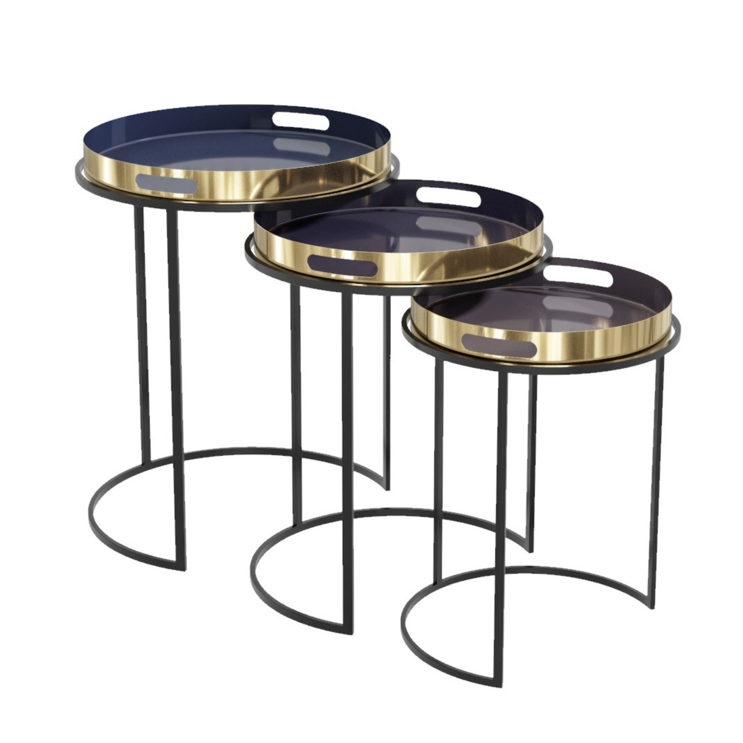 Set of 3 Tray Tables in Purple with Black & Gold Finish  Kaisa