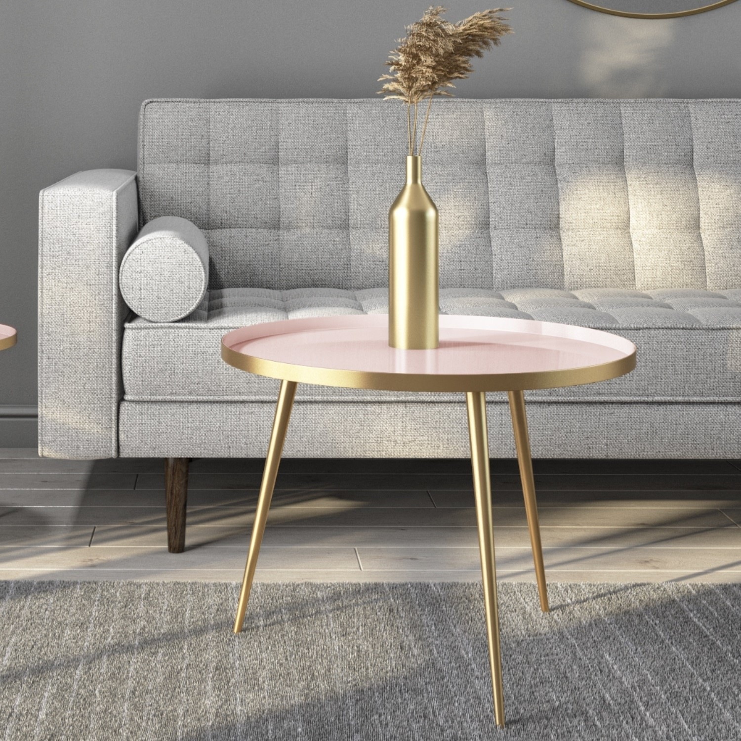 Gold & Pink Round Coffee Table  Kaisa