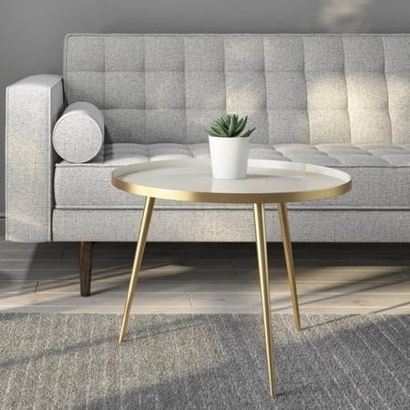Round Coffee Tray Table in Gold & Taupe - Kaisa