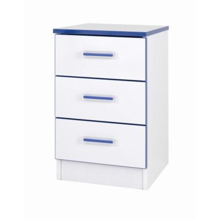 One Call Furniture Kiddi Blue 3 Drawer Bedside In White