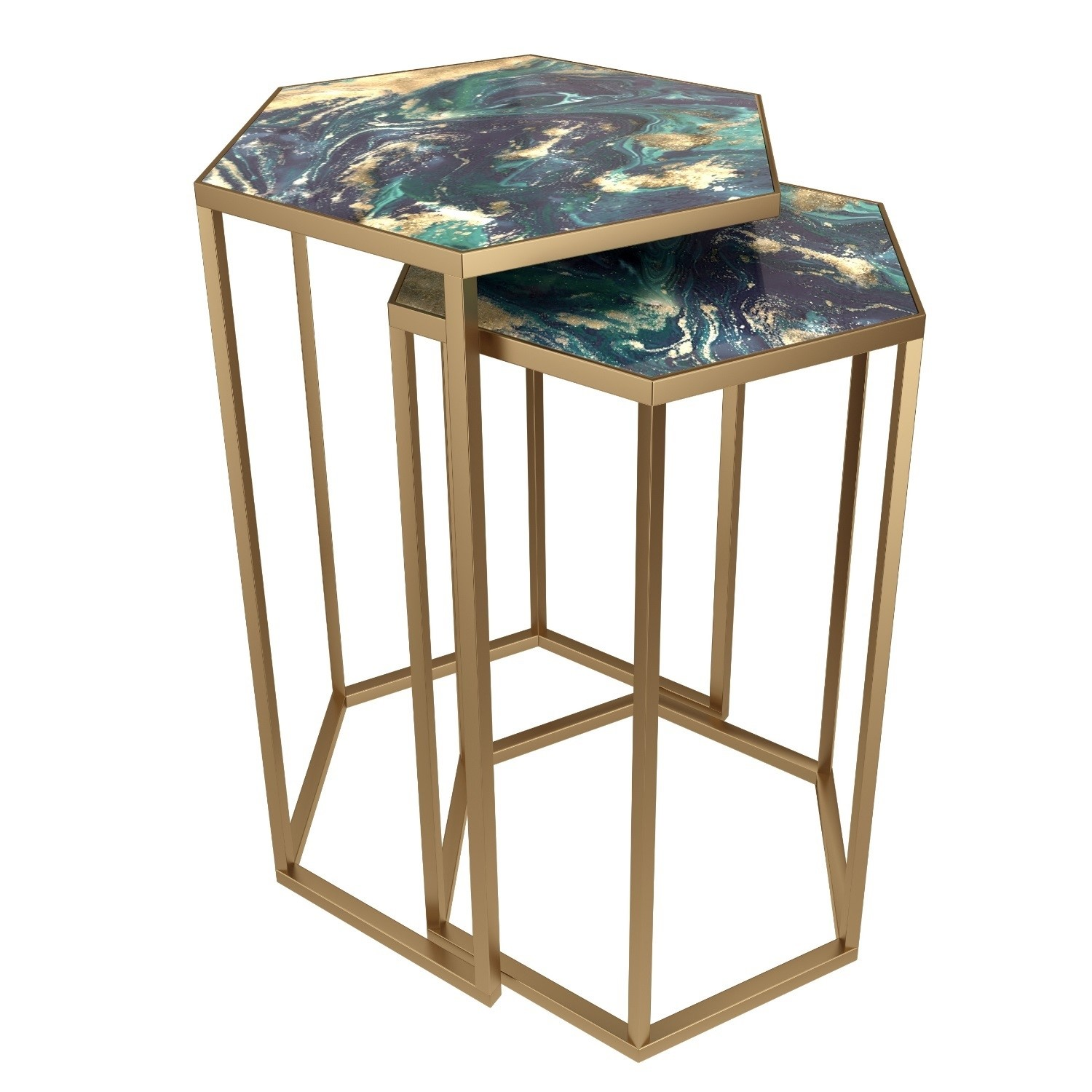 Nest of Tables with Blue Faux Marble Top and Gold Metal Base