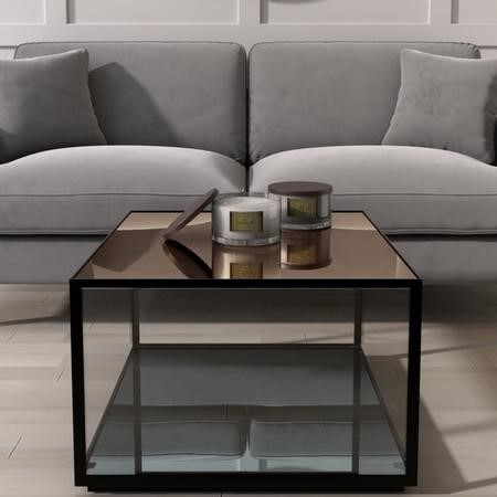 Mirrored Coffee Table with Black Metal Frame - Square