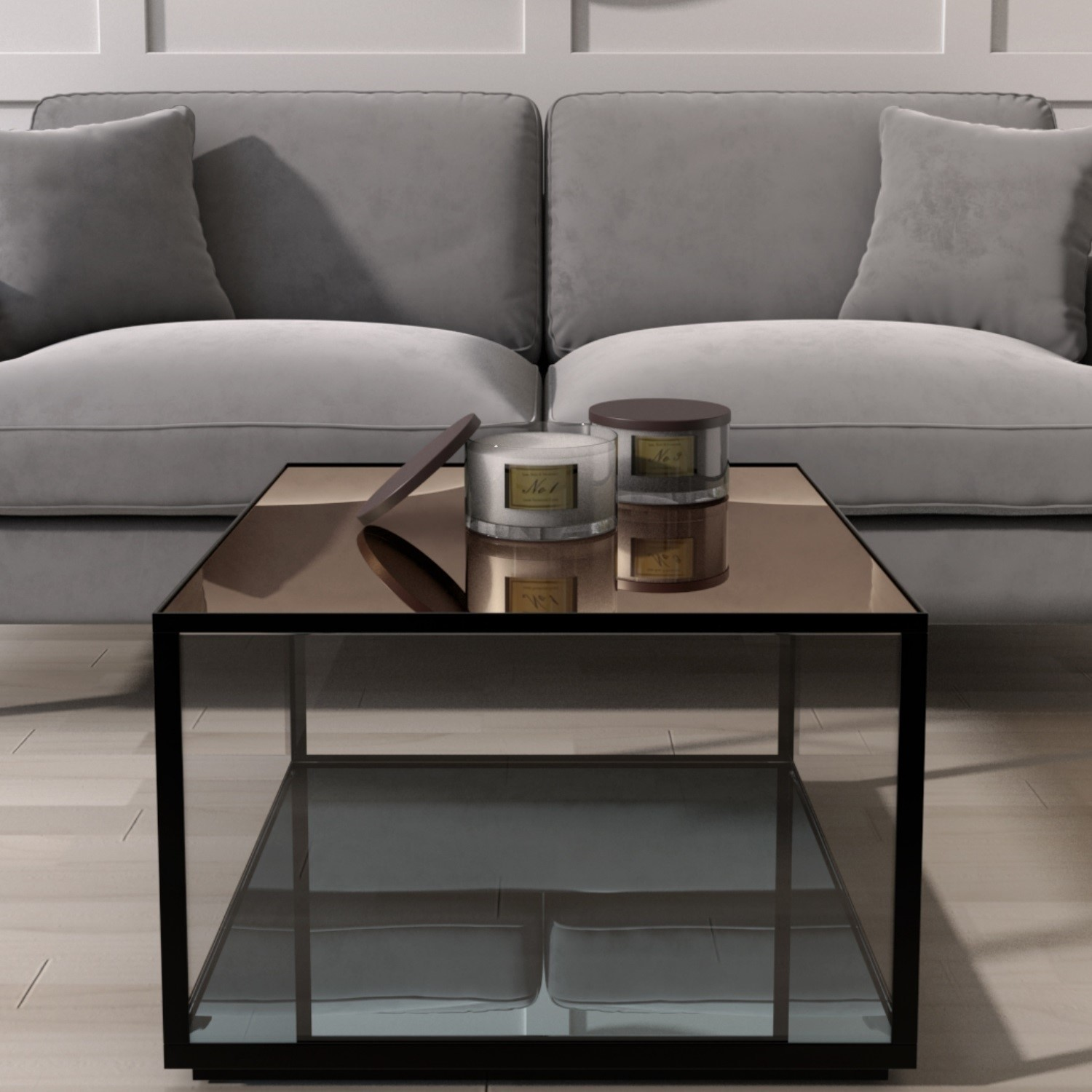 Mirrored Coffee Table with Black Metal Frame  Square