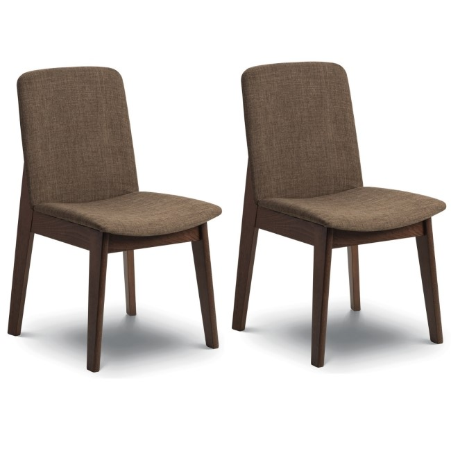 Julian Bowen Pair of Kensington Wooden Dining Chairs with Brown Seats