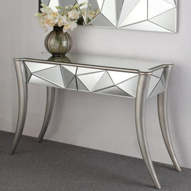 Venice Geometric 2 Drawer Mirrored Console Table