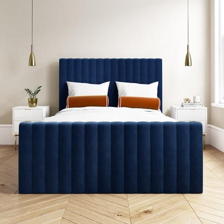 Khloe Double Side Ottoman Bed in Navy Blue Velvet
