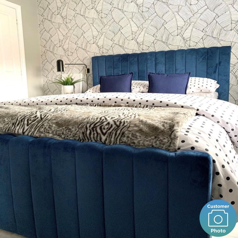 Khloe Double Side Ottoman Bed In Navy Blue Velvet Furniture123