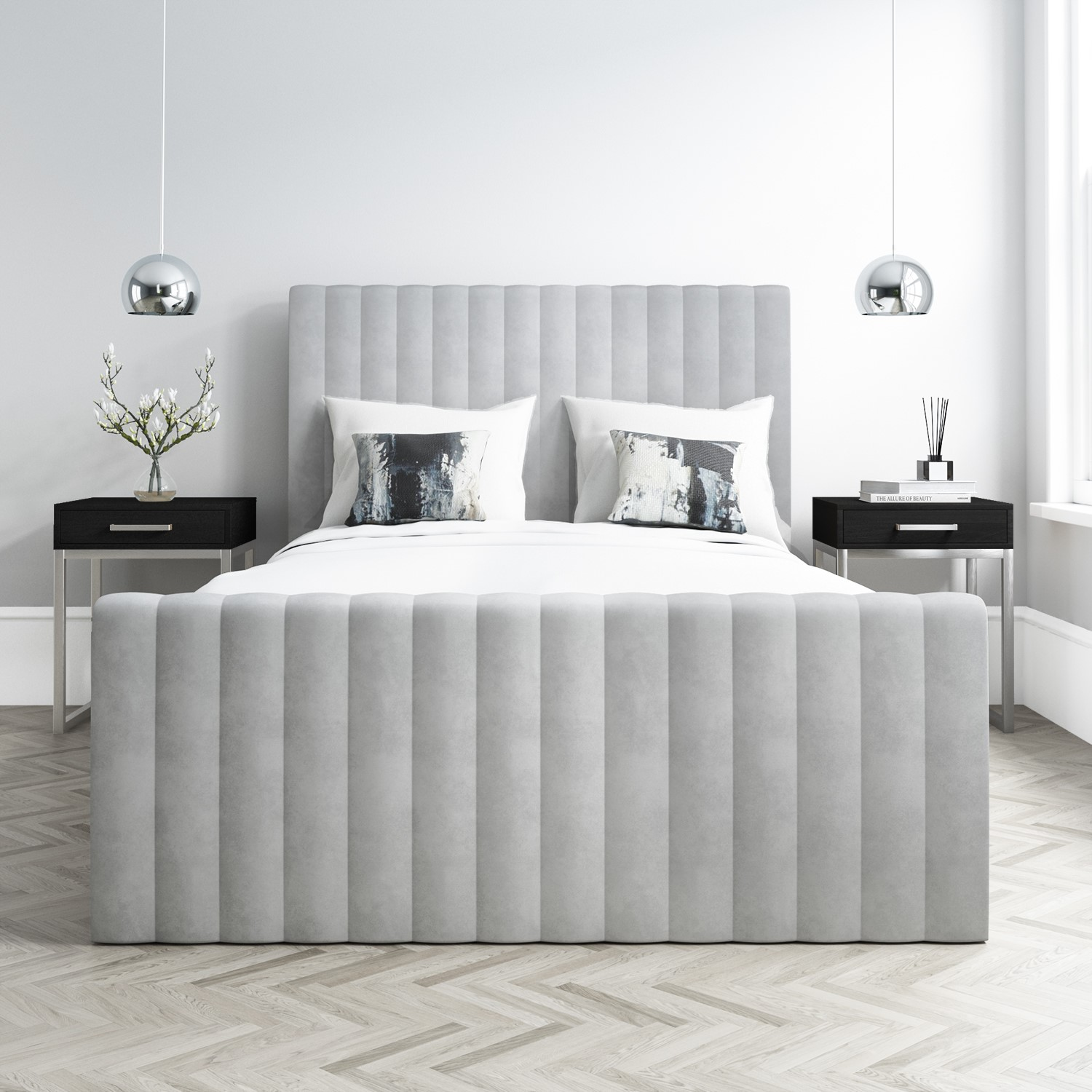 Beautiful Khloe Double Side Ottoman Bed In Silver Grey Velvet Khl With Side  By Side Khl