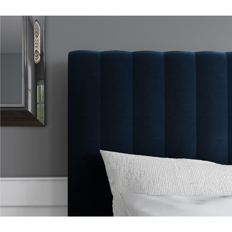 Grade A2 Khloe Double Side Ottoman Bed In Navy Blue Velvet Furniture123