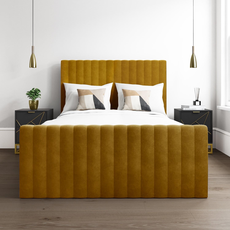 Khloe Velvet Double Ottoman Bed In Mustard Yellow Furniture123