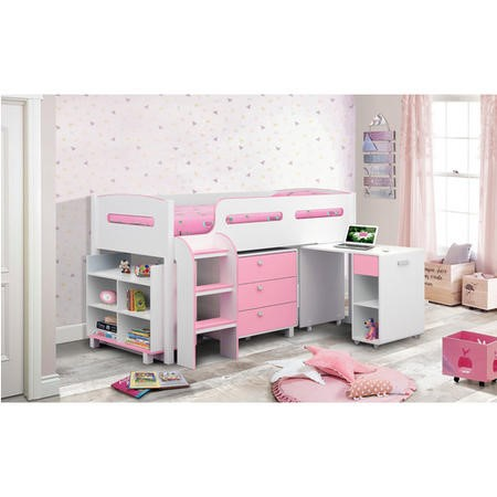 Julian Bowen Kimbo Pink Cabin Bed with Pull Out Desk