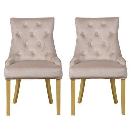 Kaylee Luxury Pair Of Velvet Dining Chairs Beige With Oak Legs