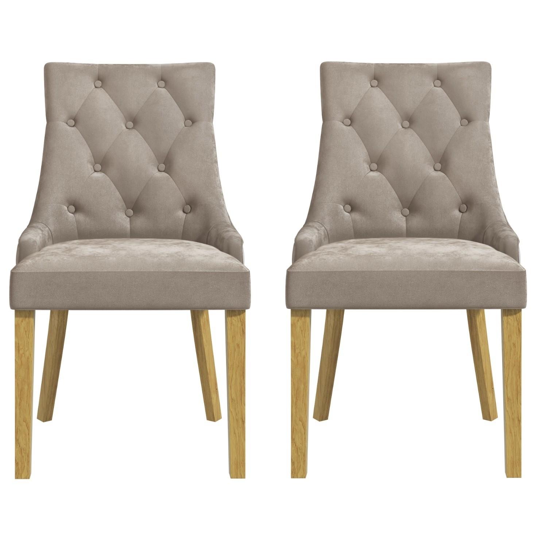 Kaylee Mink Velvet Dining Chairs with Oak Legs - Set of 2