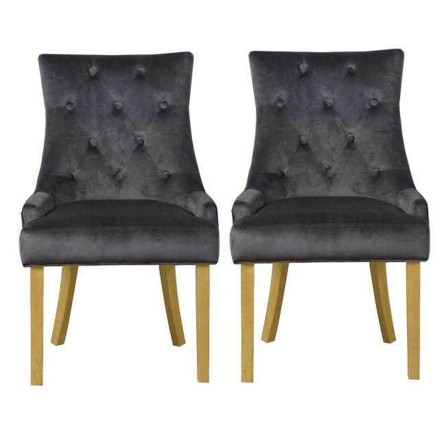 Kaylee Grey Velvet Dining Chairs with Oak Legs- Set of 2