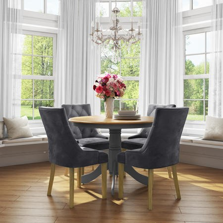 Kaylee Luxury Pair of Velvet Dining Chairs Charcoal Grey with Oak Legs
