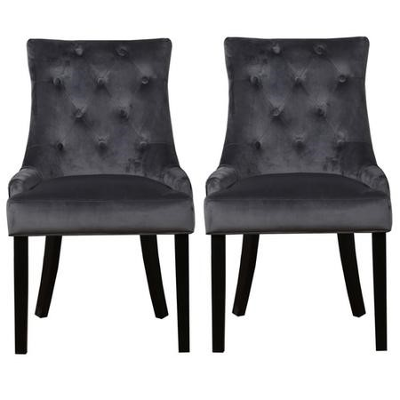 Kaylee Grey Velvet Dining Chairs with Black Legs - Set of 2