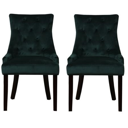 GRADE A2 - Kaylee Green Velvet Dining Chairs with Dark Wooden Legs - 1 x Pair