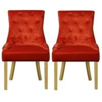Pair of Orange Velvet Dining Chairs with Buttoned Back - Kaylee