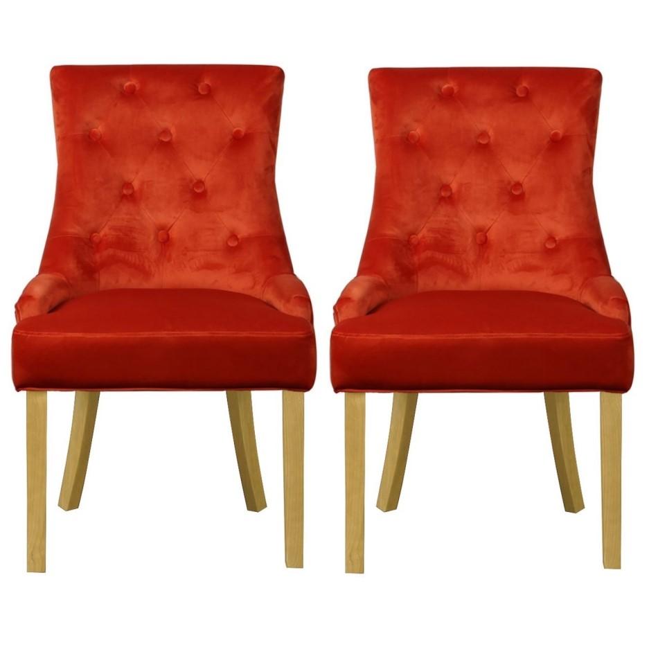 Kaylee Orange Velvet Dining Chairs With Oak Legs Set Of 2