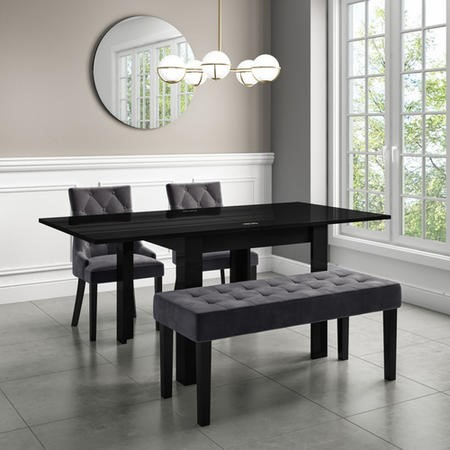Kaylee Luxury Dining Bench Charcoal Grey with Black Legs