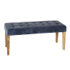 Kaylee Grey Velvet Dining Bench with Oak Legs