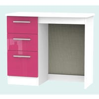 Hatherley High Gloss Small Dressing Table in White and Pink