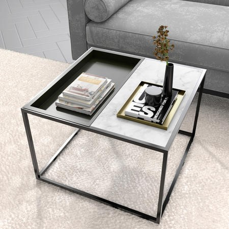 Square Grey Tray Coffee Table with White Marble Top - Modern
