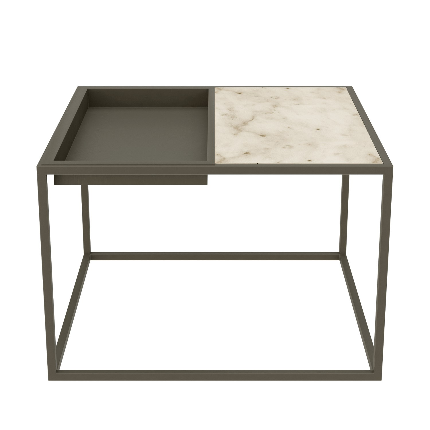 Square Grey Tray Coffee Table With White Marble Top Modern Furniture123