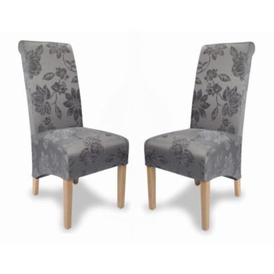Hamden Fleur Antique Grey Fabric Pair of Dining Chairs