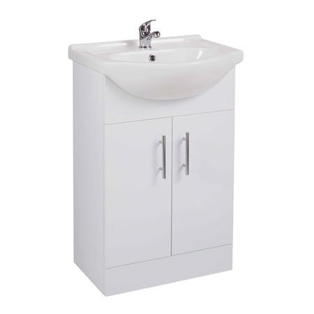 White Free Standing Bathroom Vanity Unit & Basin - W550mm