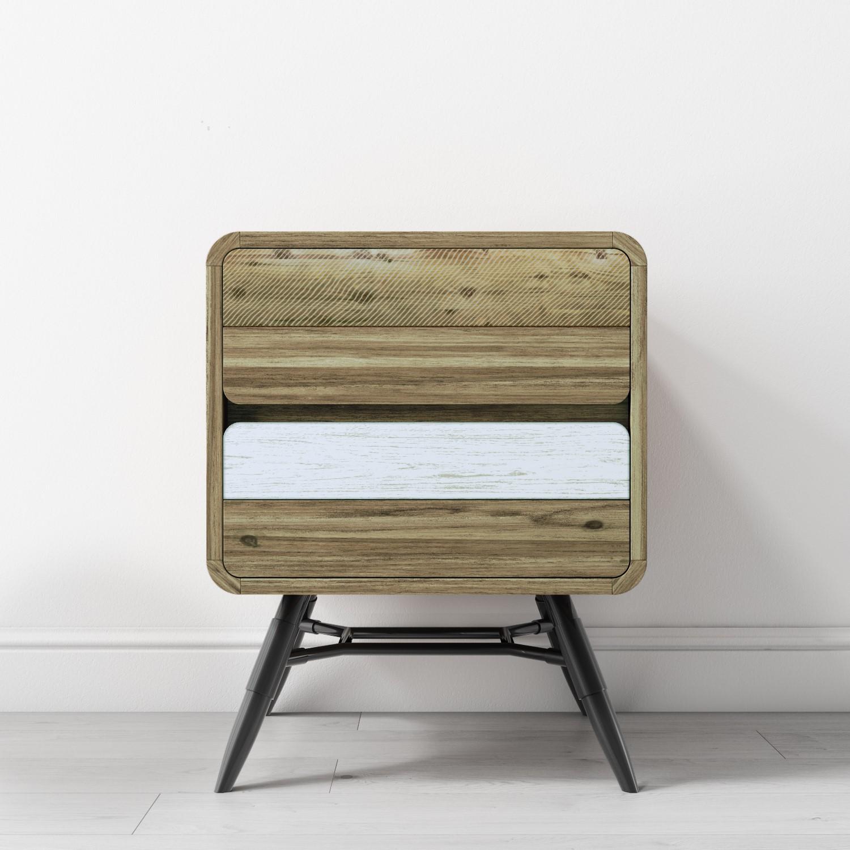 Nightstand Vintage Industrial Side Table Rustic Wooden
