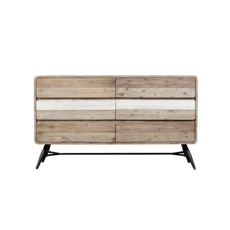 Kuta Wooden Storage Sideboard with 6 Drawers- Industrial Style