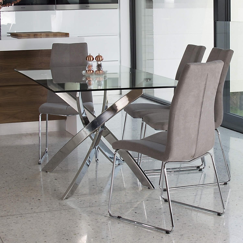 Glass Dining Table With Chrome Base Seats 6 Vida Living Kalmar Furniture123