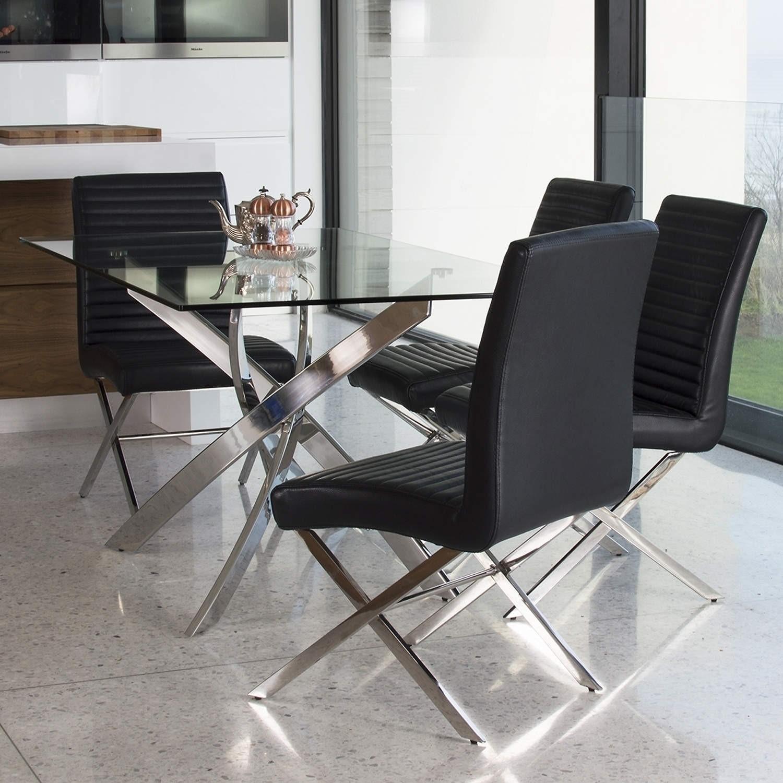Vida Living Kalmar Rectangular Glass 4 Seater Dining Table